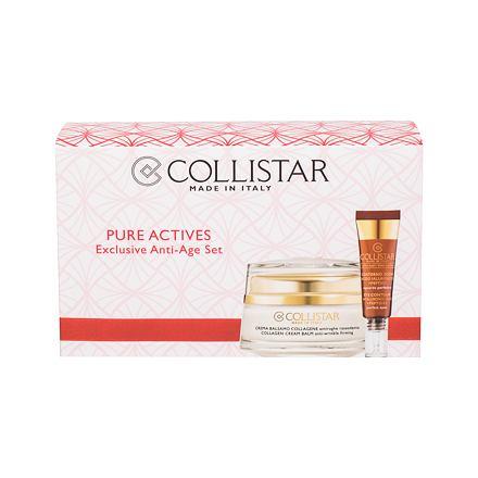 Collistar Pure Actives Collagen Cream Balm 50 ml sada denní pleťová péče 50 ml + péče o oční okolí Eye Contour Hyaluronic Acid 15 ml pro ženy