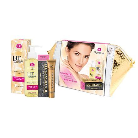 Obrázek Dermacol 3D Hyaluron Therapy sada čisticí pleťový olej 150 ml + make-up Cover SPF30 30 g 210 + kosmetická taštička pro ženy