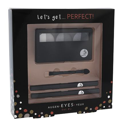 2K Let´s Get Perfect! odstín Grey sada paletka očních stínů 6,6 g + aplikátor očních stínů 1 ks + tužka na oči 0,2 g 086 + tužka na oči 0,2 g 087 pro ženy