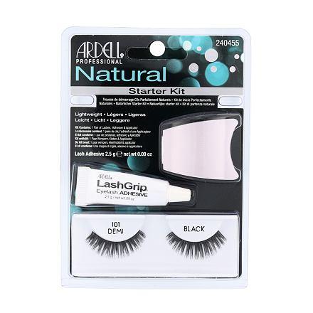 Ardell Natural Demi 101 1 ks odstín Black sada umělé řasy 1 pár + lepidlo na řasy LashGrip 2,5 g + aplikátor 1 ks pro ženy