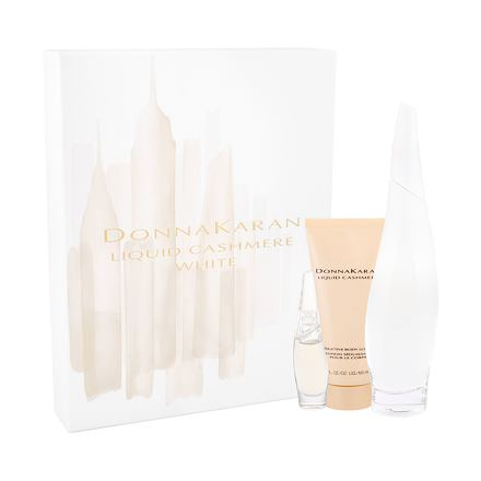 DKNY Liquid Cashmere White sada parfémovaná voda 100 ml + parfémovaná voda 7 ml + tělové mlék