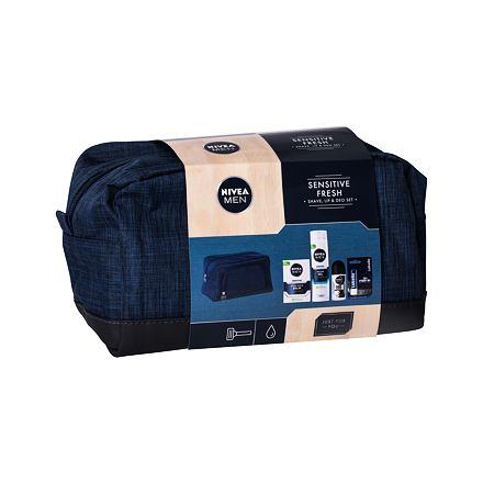 Nivea Men Sensitive 100 ml sada balzám po holení 100 ml + gel na holení 200 ml + roll-on Black & White Invisible 50 ml + balzám na rty Labello Active For Men 4,8 g + kosmetická taška pro muže