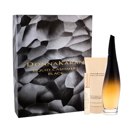 DKNY Liquid Cashmere Black sada parfémovaná voda 100 ml + parfémovaná voda 10 ml + tělové mlé