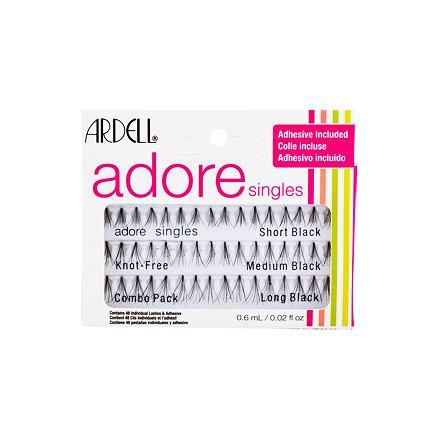 Ardell Adore Singles 48 ks sada trsové řasy 16 ks Short Black + trsové řasy 16 ks Medium Black + trsové řasy 16 ks Long Black + lepidlo na řasy 0,6 ml pro ženy