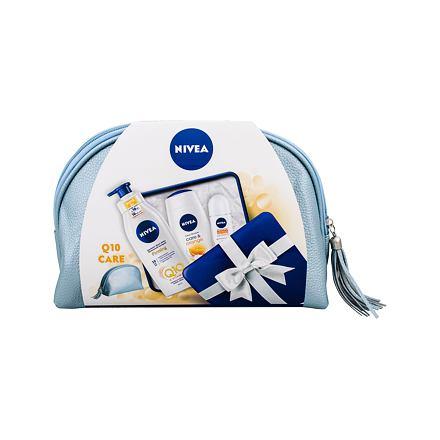 Nivea Care & Orange 250 ml sada sprchový gel 250 ml + zpevňující tělové mléko Q10 400 ml + an