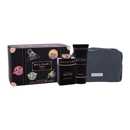 Bvlgari Man In Black 100 ml sada parfémovaná voda 100 ml + balsam po holení 100 ml + kosmetická taštička pro muže