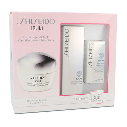 Shiseido Ibuki 50 ml sada pleťový krém Refining Moisturizer Enriched 50 ml + čisticí pěna Gentle Cleanser 30 ml + zklidňující pleťová emulze Softening Concentrate 15 ml pro ženy