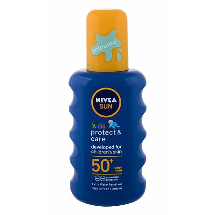 Nivea Sun Kids Protect & Care Sun Spray SPF50+ voděodolný barevný sprej na opalování 200 ml