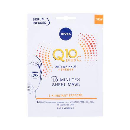 Nivea Q10 Plus C 10 Minutes Sheet Mask protivrásková plátýnková maska s q10 a vitamínem c 1 ks pro ženy