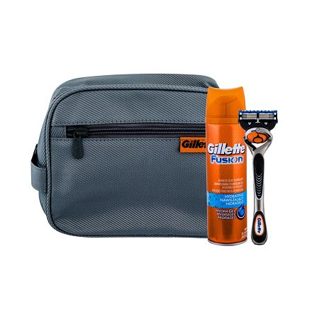 Gillette Fusion Proglide sada holicí strojek s jednou hlavicí 1 ks + gel na holení Hydrating 200 ml + kosmetická taška pro muže