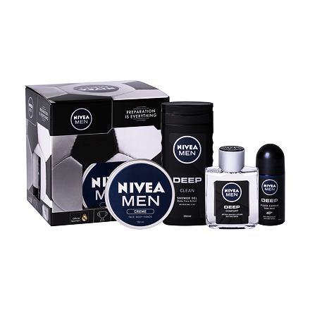 Nivea Men Deep Comfort 100 ml sada voda po holení 100 ml + sprchový gel 250 ml + antiperspirant roll-on 50 ml + univerzální krém Men Creme 150 ml pro muže