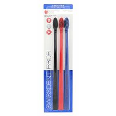 Zubní kartáček Swissdent Colours Soft Medium 3 ks Black, Red, Blue