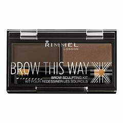Set a paletka na obočí Rimmel London Brow This Way 2,4 g 003 Dark Brown