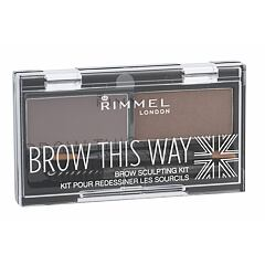 Set a paletka na obočí Rimmel London Brow This Way 2,4 g 002 Medium Brown