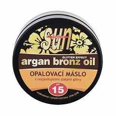 Opalovací přípravek na tělo Vivaco Sun Argan Bronz Oil Glitter Effect SPF15 200 ml
