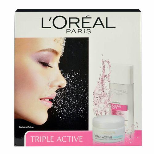 L´Oréal Paris Triple Active denní pleťový krém denní pleťový krém 50 ml + micelární voda Micellar Water 3in1 Sensitive Skin 200 ml pro ženy