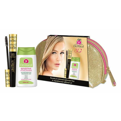 Dermacol Ultra Tech řasenka řasenka 10 ml + odličovač očí Sensitive 125 ml + taška pro ženy