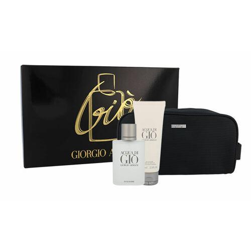 Giorgio Armani Acqua di Gio Pour Homme EDT EDT 100 ml + sprchový gel 75 ml + toaletní taška Poškozená krabička pro muže