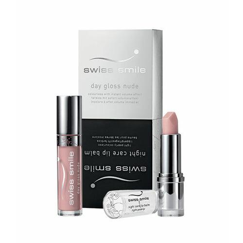 swiss smile Day Gloss Nude lesk na rty lesk na rty Day Gloss Nude 3,5 ml + balzám na rty Night Care Lip Balm 3,5 g pro ženy