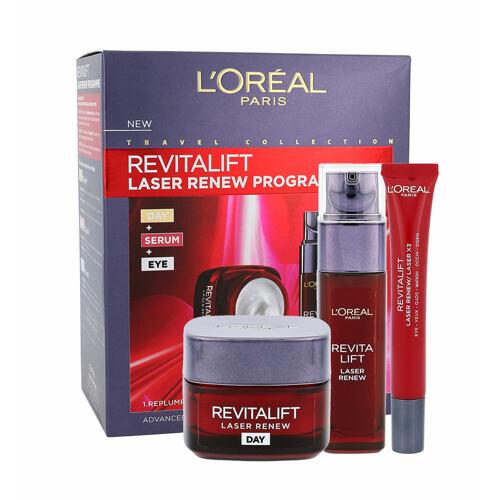L´Oréal Paris Revitalift Laser Renew denní pleťový krém denní pleťová péče 50 ml + pleťové sérum 30 ml + oční krém 15 ml Poškozená krabička pro ženy