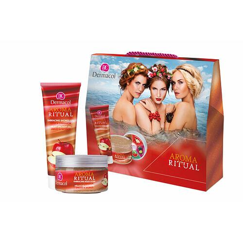 Dermacol Aroma Ritual Apple & Cinnamon sprchový gel sprchový gel 250 ml + tělový peeling 200 g pro ženy