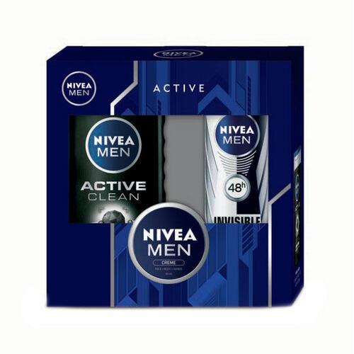 Nivea Men Active Clean sprchový gel sprchový gel 250 ml + antiperspirant Invisible For Black & White 48h 150 ml + univerzální krém 30 ml pro muže