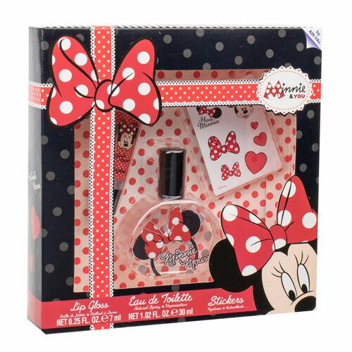 Disney Minnie Mouse EDT EDT 30 ml + lesk na rty 7 ml + samolepky Unisex