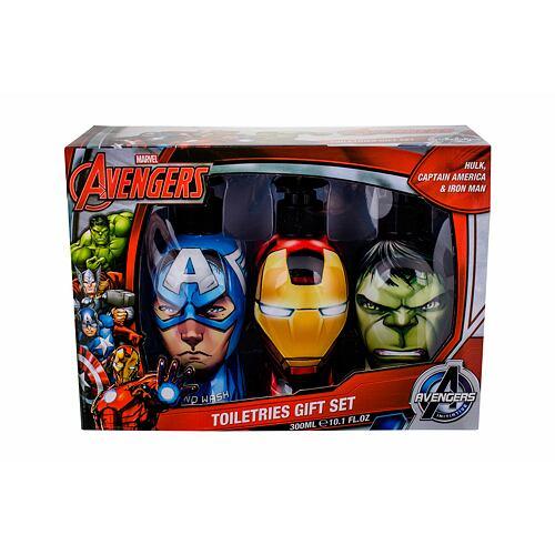 Marvel Avengers sprchový gel sprchový gel Hulk 300 ml + šampon Iron Man 300 ml + tekuté mýdlo Captain America 300 ml Poškozená krabička Unisex