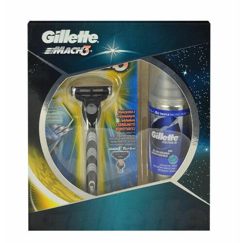 Gillette Mach 3 Sensitive holicí strojek holicí strojek 1 ks + gel na holení Series 75 ml pro muže