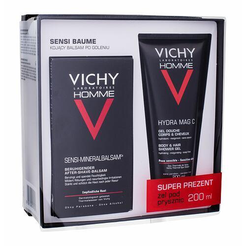 Vichy Homme Sensi Baume balzám po holení balzám po holení 75 ml + sprchový gel na tělo a vlasy Hydra Mag C 200 ml pro muže