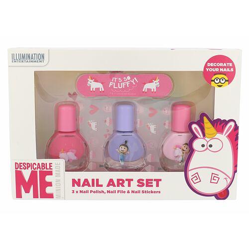 Minions Unicorns lak na nehty lak na nehty 3 x 4 ml + pilník 1 ks + samolepky na nehty Unisex