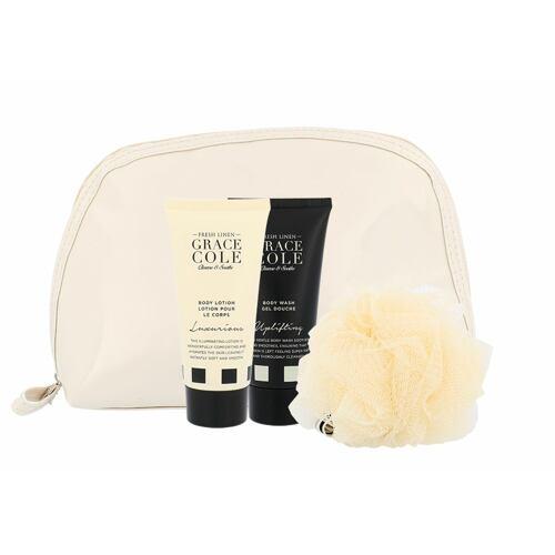 Grace Cole Fresh Linen sprchový gel sprchový gel Uplifting 100 ml + tělové mléko Luxurious 100 ml + mycí houba + kosmetická taška pro ženy