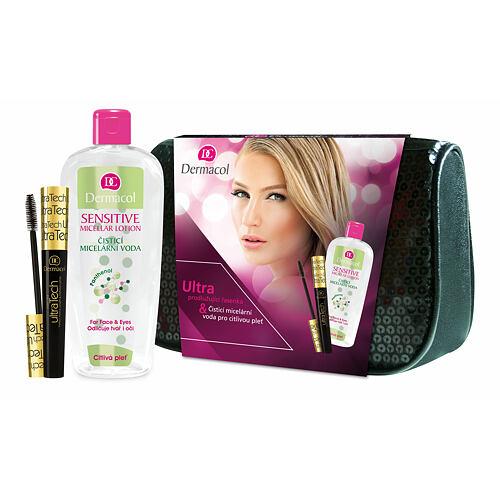 Dermacol Ultra Tech řasenka prodlužující řasenka 10 ml + čisticí micelární voda Sensitive 400 ml + černá kosmetická taška pro ženy