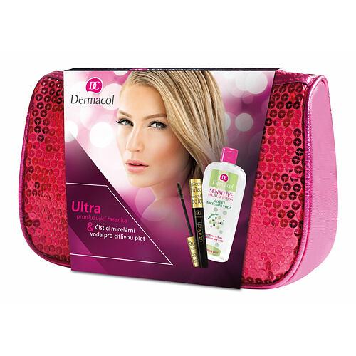 Dermacol Ultra Tech řasenka prodlužující řasenka 10 ml + čisticí micelární voda Sensitive 400 ml + růžová kosmetická taška pro ženy