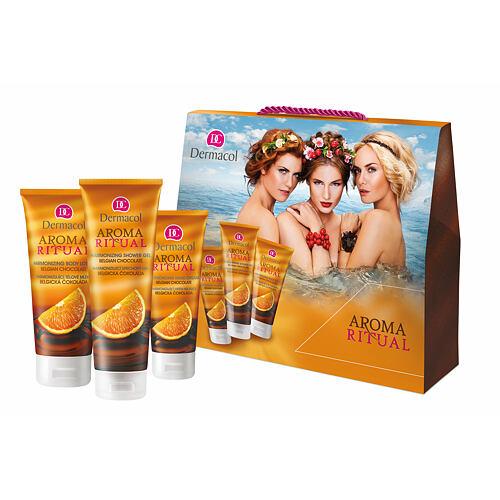 Dermacol Aroma Ritual Belgian Chocolate sprchový gel sprchový gel 250 ml + tělové mléko 200 ml + krém na ruce 100 ml pro ženy