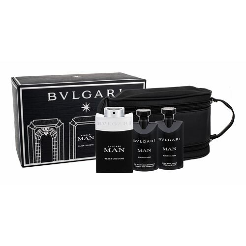 Bvlgari Man Black Cologne EDT EDT 100 ml + sprchový gel 75 ml + balzám po holení 75 ml + kosmetická taška pro muže