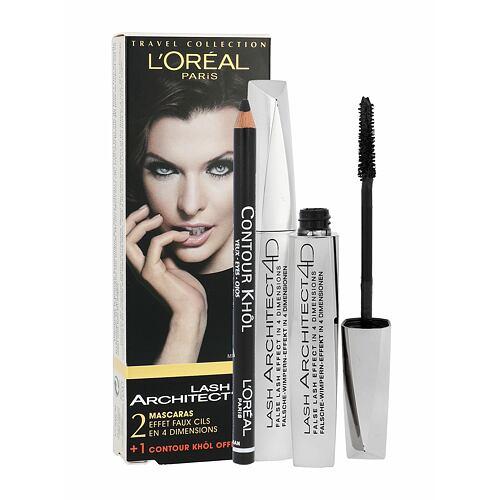 L´Oréal Paris Lash Architect 4D řasenka 2 x řasenka 10,5 ml + tužka na oči Color Riche Le Khol 1,2 g 131 Jet Black pro ženy