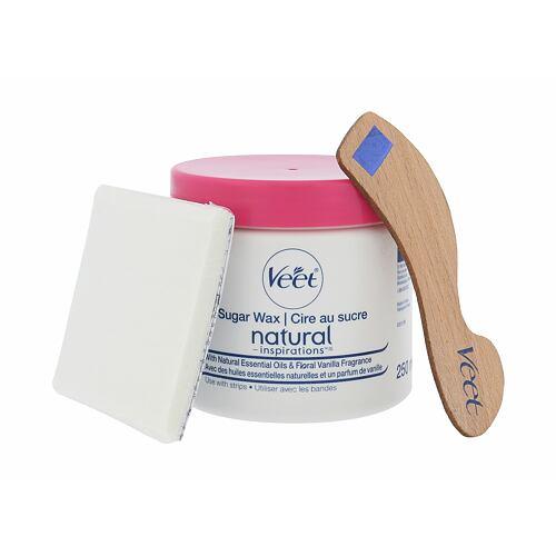 Veet Natural Inspirations gel na holení depilační vosk 250 ml + páska 12 ks + špachtle 1 ks pro ženy