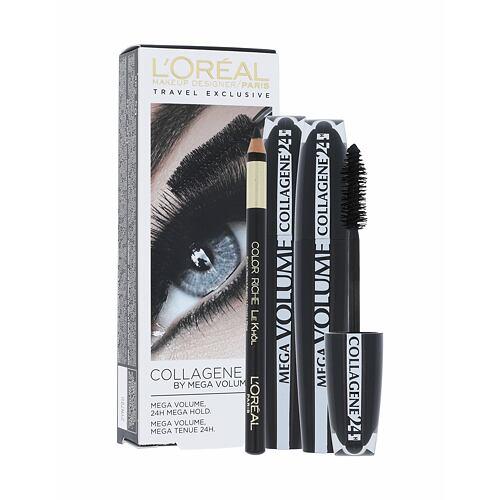 L´Oréal Paris Mega Volume Collagene 24h řasenka řasenka Mega Volume Collagene 24h 2 x 9 ml + tužka na oči Eye Contour Khol Black 2 g pro ženy