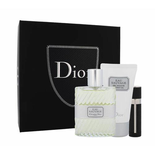 Christian Dior Eau Sauvage EDT EDT 100 ml + sprchový gel 50 ml + EDT naplnitelná 3 ml pro muže