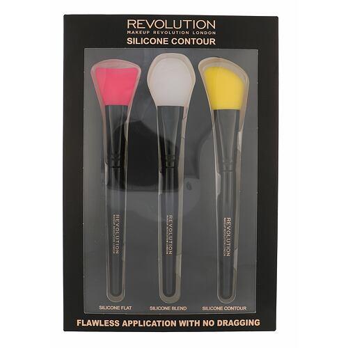 Makeup Revolution London Silicone Contour štětec plochý štětec 1 ks + blendovací štětec 1 ks + štětec pro konturování 1 ks pro ženy
