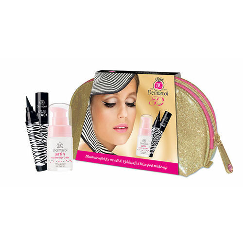 Dermacol Satin podklad pod makeup podklad pod makeup 15 ml + oční linka Bambi Black 2 ml + taška pro ženy