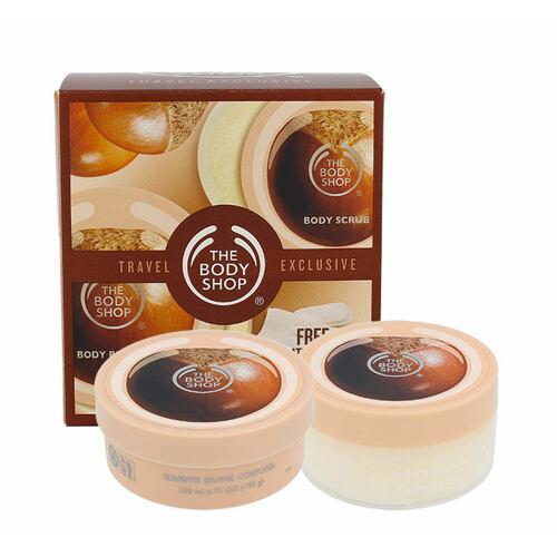 The Body Shop Shea tělové máslo tělové máslo Shea 200 ml + tělové máslo Shea Sugar 200 ml+ rukavice Bath Gloves 1 ks pro ženy