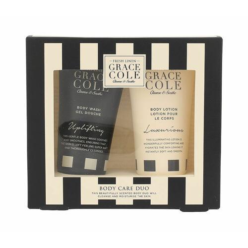 Grace Cole Fresh Linen sprchový gel sprchový gel Uplifting 50 ml + tělové mléko Luxurious 50 ml Poškozená krabička pro ženy