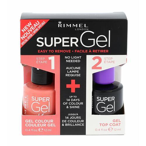 Rimmel London Super Gel By Kate lak na nehty Super Gel By Kate 12 ml + Super Gel Top Coat 12 ml pro ženy