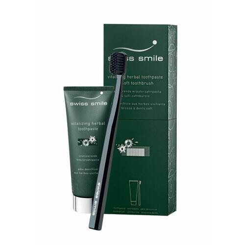swiss smile Vitalizing Herbal zubní pasta zubní pasta Vitalizing Herbal 75 ml + zubní kartáček Sensitive-Soft Green 1 ks Unisex